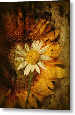 Sunny Antiqued Metal Print by Tingy Wende
