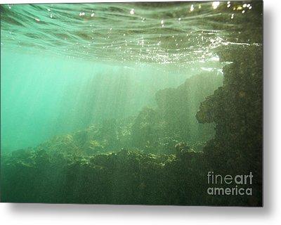 Sunrays Penetrating Underwater Cave Metal Print by Sami Sarkis