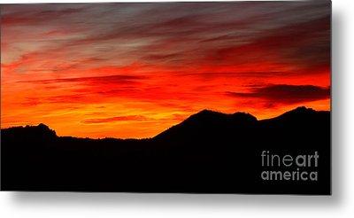 Sunrise Against Mountain Skyline Metal Print by Max Allen