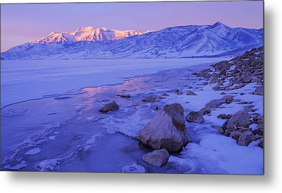 Sunrise Ice Reflection Metal Print by Chad Dutson