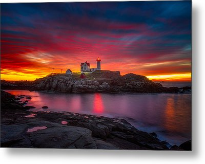 Sunrise Over Nubble Light Metal Print by Darren  White