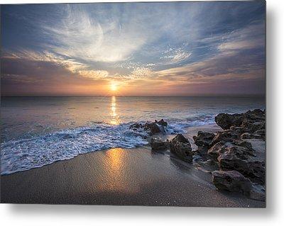 Sunrise Surf Metal Print by Debra and Dave Vanderlaan