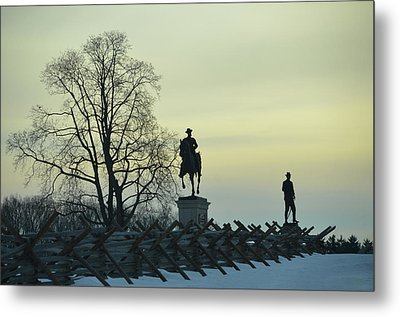 Sunset At Gettysburg In Winter Metal Print by Bill Cannon