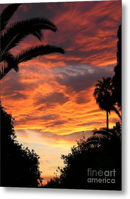 Sunset God's Fingers In Clouds  Metal Print by Diane Greco-Lesser