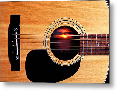 Sunset In Guitar Metal Print by Garry Gay