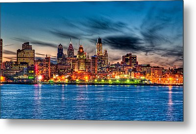 Sunset Over Philadelphia Metal Print by Louis Dallara