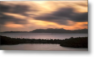 Sunset Over St. John And St. Thomas Panoramic Metal Print by Adam Romanowicz