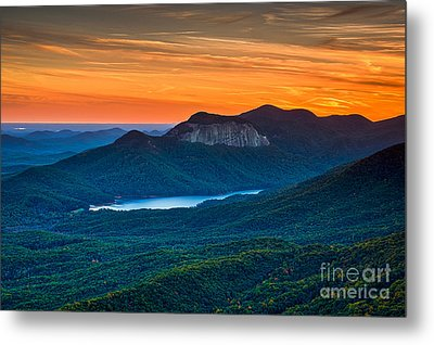 Sunset Over Table Rock From Caesars Head State Park South Carolina Metal Print by T Lowry Wilson