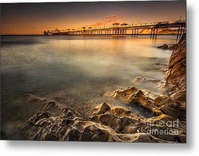 Sunset Pier Metal Print by Adrian Evans