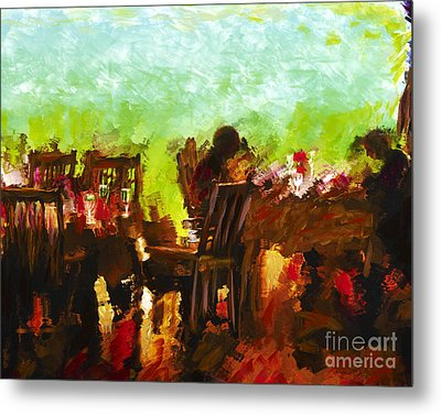 Sunset Terrace Intimacy Metal Print by Marilyn Sholin