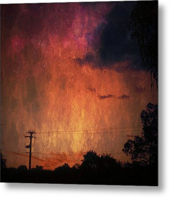 Sunset With Telegraph Pole Metal Print by AlyZen Moonshadow
