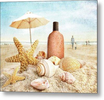 Suntan Lotion And Seashells On The Beach Metal Print by Sandra Cunningham