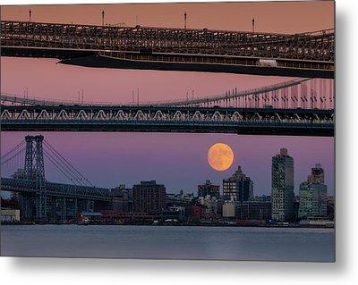 Super Moon Over Manhattan New York City Nyc Bridges Metal Print by Susan Candelario
