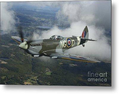 Supermarine Spitfire Mk.xvi Fighter Metal Print by Daniel Karlsson