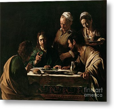 Supper At Emmaus Metal Print by Michelangelo Merisi da Caravaggio