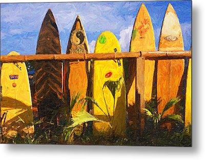 Surfboard Garden Metal Print by Ron Regalado