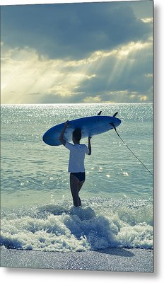 Surfer Girl Metal Print by Laura Fasulo