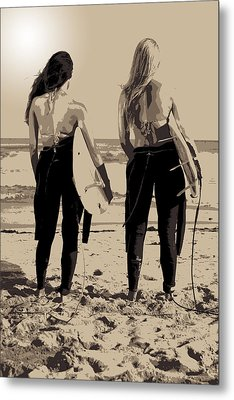 Surfer Girls Metal Print by Brad Scott