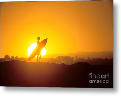 Surfer Silhouetted At Sun Metal Print by Erik Aeder - Printscapes
