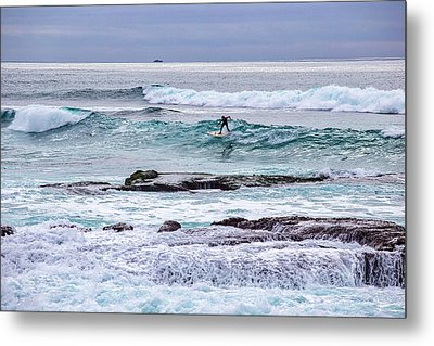 Surfin The Reef Metal Print by Peter Tellone