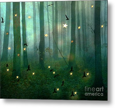 Surreal Dreamy Fantasy Nature Fairy Lights Woodlands Nature - Fairytale Fantasy Forest Woodlands  Metal Print by Kathy Fornal