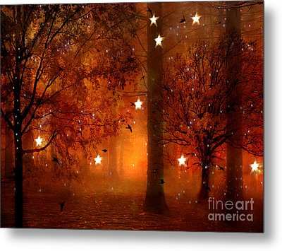 Surreal Fantasy Autumn Woodlands Starry Night Metal Print by Kathy Fornal