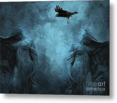 Surreal Gothic Cemetery Mourners And Raven Metal Print by Kathy Fornal