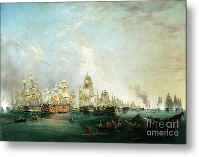 Surrender Of The Santissima Trinidad To Neptune The Battle Of Trafalgar Metal Print by Lieutenant Robert Strickland Thomas