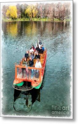 Swan Boats Boston Public Gardens Metal Print by Edward Fielding