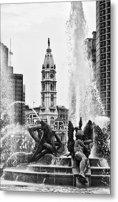 Swann Memorial Fountain In Black And White Metal Print by Bill Cannon