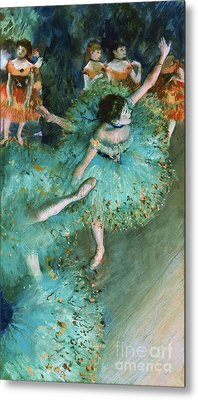Swaying Dancer In Green Metal Print by Pg Reproductions