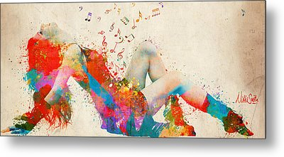 Sweet Jenny Bursting With Music Cropped Metal Print by Nikki Marie Smith