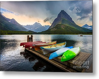 Swiftcurrent Canoes Metal Print by Inge Johnsson