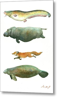 Swimming Animals Metal Print by Juan Bosco