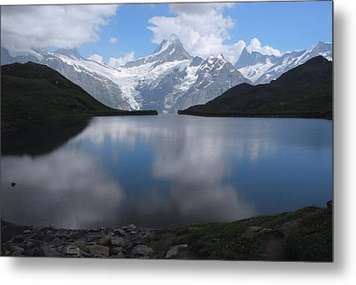 Swiss Alps And Clouds Casting Metal Print by Anne Keiser