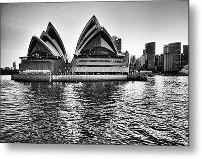 Sydney Opera House-black And White Metal Print by Douglas Barnard
