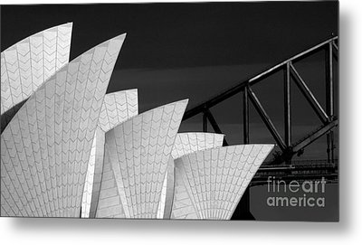 Sydney Opera House With Bridge Backdrop Metal Print by Avalon Fine Art Photography