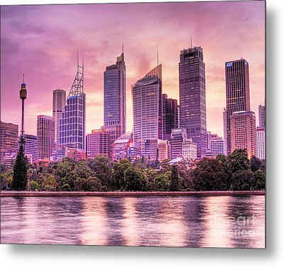 Sydney Tower Skyline At Sunset Metal Print by Chris Smith