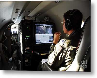 System Operator Operates A Console Metal Print by Stocktrek Images