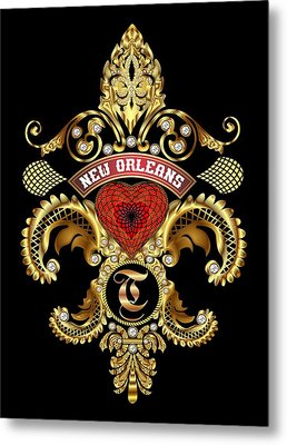 T-fleur-de-lis New Orleans Transparent Back Pick Color Metal Print by Bill Campitelle