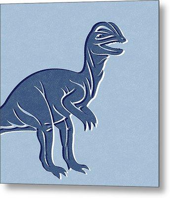 T-rex In Blue Metal Print by Linda Woods