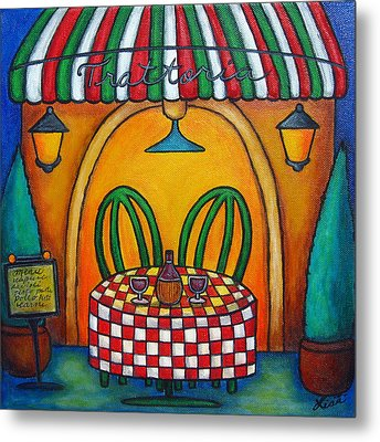 Table For Two At The Trattoria Metal Print by Lisa  Lorenz