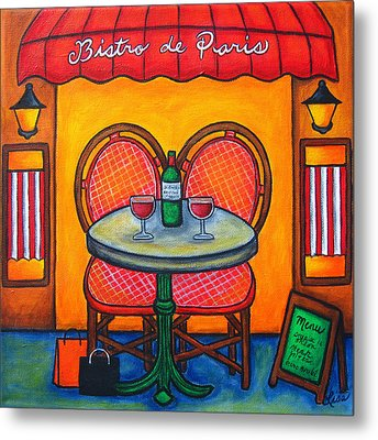 Table For Two In Paris Metal Print by Lisa  Lorenz