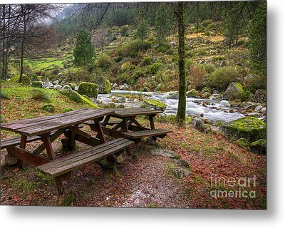 Tables By The River Metal Print by Carlos Caetano