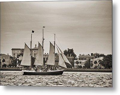 Tall Ship Schooner Pride Off The Historic Charleston Battery Metal Print by Dustin K Ryan