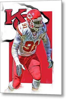 Tamba Hali Kansas City Chiefs Oil Art Metal Print by Joe Hamilton