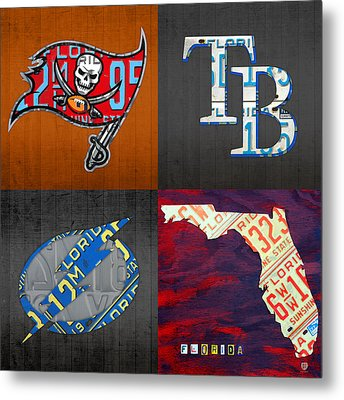Tampa Bay Sports Fan Recycled Vintage Florida License Plate Art Bucs Rays Lightning Plus State Map Metal Print by Design Turnpike
