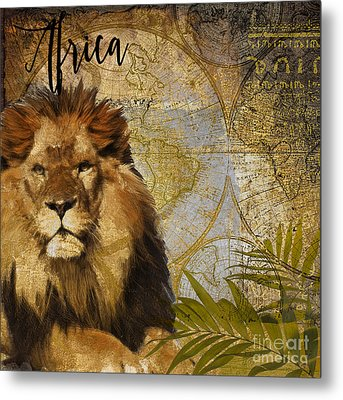 Taste Of Africa Lion Metal Print by Mindy Sommers