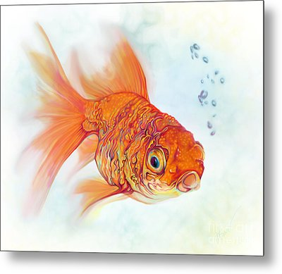 Tattoo And Watercolor Goldfish Metal Print by Julianne Black