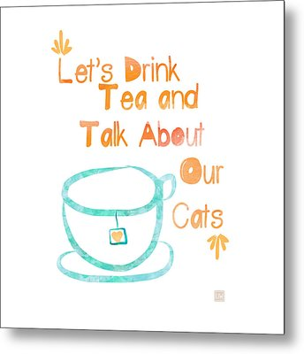Tea And Cats Square Metal Print by Linda Woods